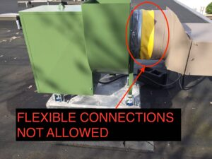 flexible connections are not allowed in kitchen exhaust systems