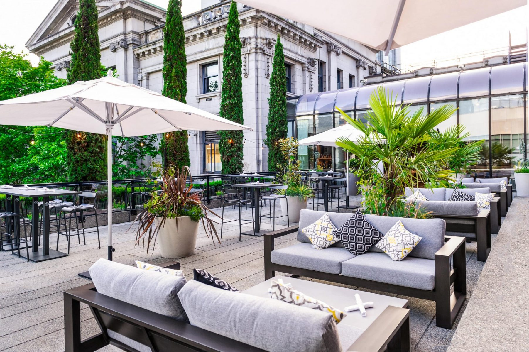 Outdoor lounge at Vancouver Art Gallery Bistro by Evolve Mechanical Solutions